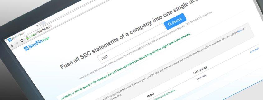 SimFin Screenshot Startseite